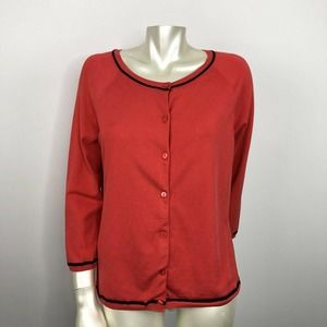 Pendleton Large Red Button Up Cardigan Silk Blend